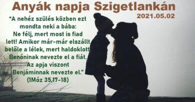 Igehirdetések Szigetlankán – 1Móz 35,17-18 – Anyák napja