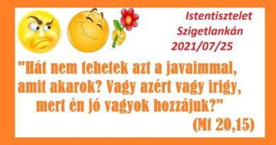 Igehirdetések Szigetlankán – Mt 20,15